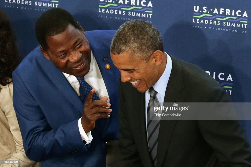 Benin President Boni Yayi (L) talks with U.S. President <a gi-track='captionPersonalityLinkClicked' href=/galleries/search?phrase=Barack+Obama&family=editorial&specificpeople=203260 ng-click='$event.stopPropagation()'>Barack Obama</a> before the third and final plenary meeting of the U.S.-Africa Leaders Summit at the State Department August 6, 2014 in Washington, DC. Obama hosted the last day of the first-ever summit to strengthen ties between the United States and African nations.