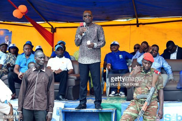 Benin presidential candidate and leader of coalition of the opposition Patrice Talon speaks during a campaign rally in the Ekpe district near Cotonou...