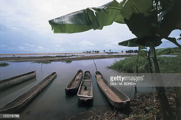 Benin Surroundings of Grand Popo Estuary of the Kouffo River Pirogues