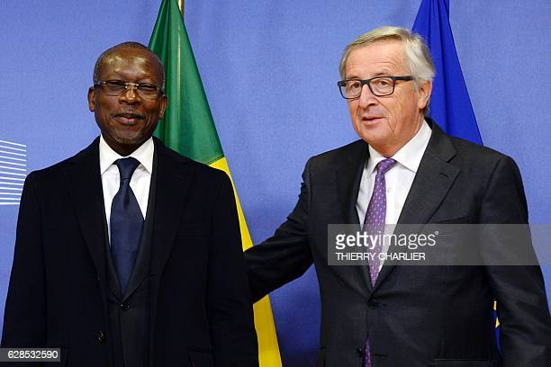 Benin's President Patrice Talon and European Union Commission President JeanClaude Juncker pose prior to their meeting at the European Union...