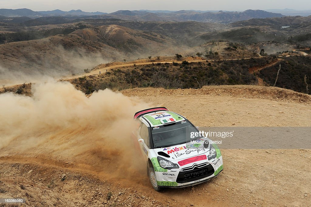 Benito Guerra of Mexico and Borja Rozada of Spain compete in their Citroen DS3 WRC during Day One of the WRC Mexico on March 08 , 2013 in Leon , Mexico.