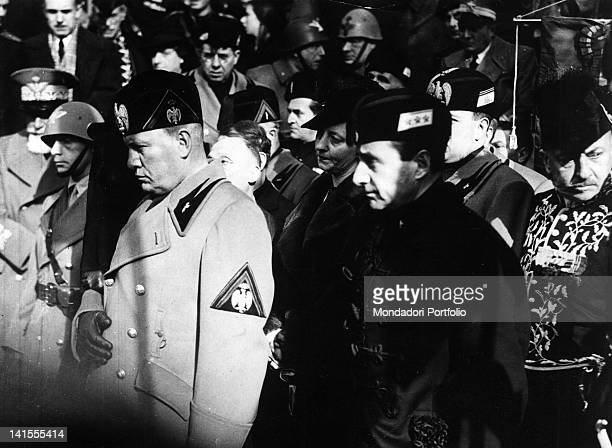 Benito Mussolini Achille Starace and other fascist hierarchs taking part in the funeral of Gabriele D'Annunzio Italian poet and writer Gardone...