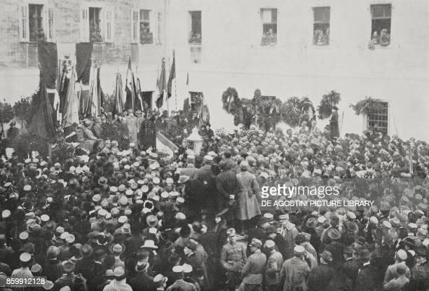 Benito Mussolini commemorating Guglielmo Oberdan Trieste FriuliVenezia Giulia Italy from l'Illustrazione Italiana Year XLV No 52 December 29 1918