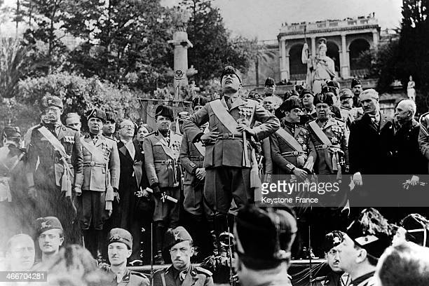Benito Mussolini gives a speech on the Piazzo Del Popolo after celebrating on the same day the anniversary of the foundation of Rome and of the Sixth...