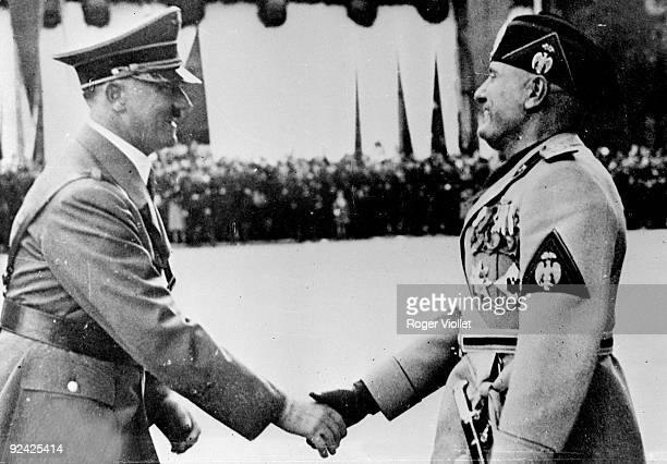 Benito Mussolini Italian politician with Adolf Hitler German politician