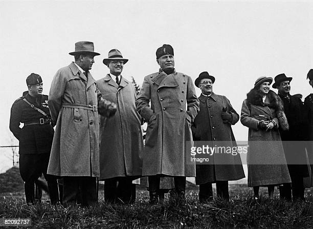 Benito Mussolini together with Kurt Schuschnigg and Gyula Gmbs de Jkfa at a demonstration of the horse troops Italy Photograph March 1936 [Benito...