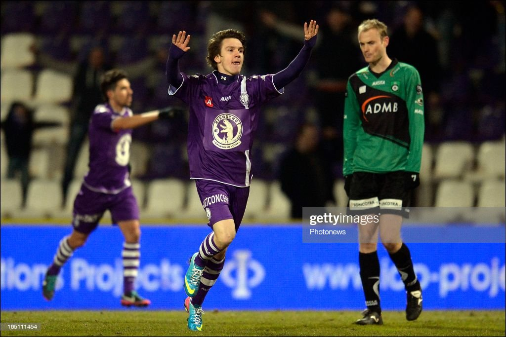 Benito Raman of Beerschot AC celebrates scoring a goal during the play off 3 Jupiler League match between Beerschot AC and Cercle Brugge on March 30, 2013 in Antwerpen, Belgium.