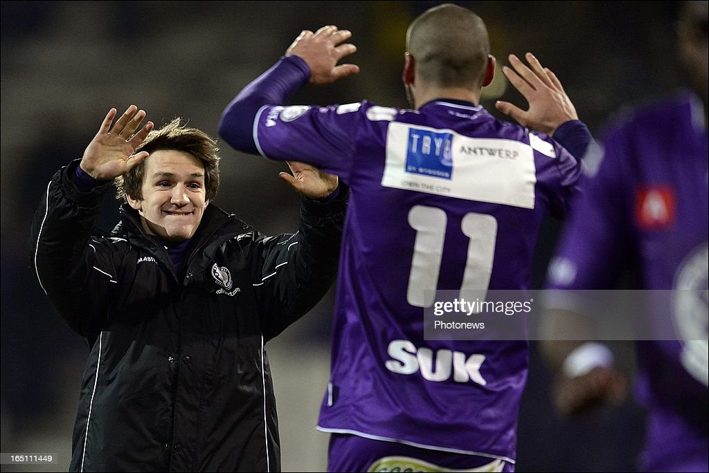 Benito Raman of Beerschot AC celebrates with Joey Suk (R) after the play off 3 Jupiler League match between Beerschot AC and Cercle Brugge on March 30, 2013 in Antwerpen, Belgium.