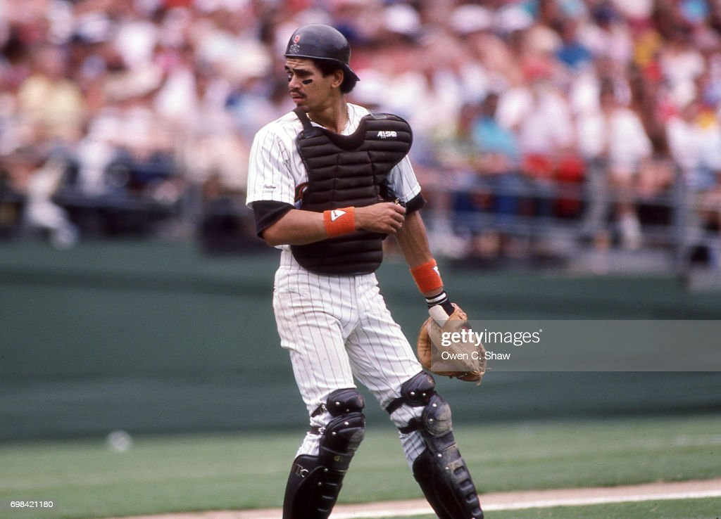 Benito Santiago catcher for the San Diego Padres at Jack Murphy Stadium circa 1986 in San Diego, California.