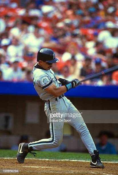 Benito Santiago of the Florida Marlins bats against the New York Mets during an Major League Baseball game circa 1993 at Shea Stadium in the Queens...