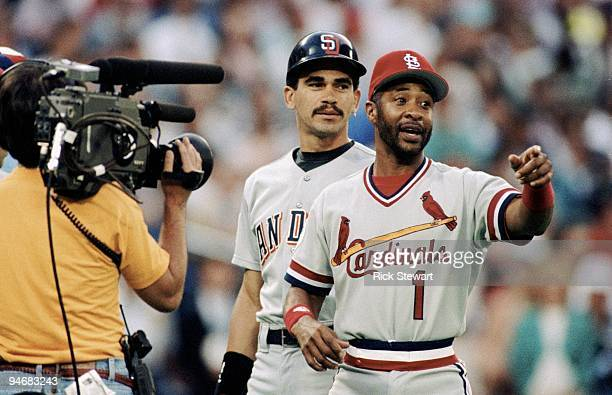 Benito Santiago of the San Diego Padres and Ozzie Smith of the St Louis Cardinals look on during the1991 AllStar Game at the Toronto Sky Dome on July...
