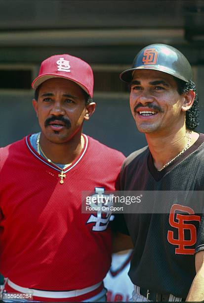 Benito Santiago of the San Diego Padres and Tony Pena of the St Louis Cardinals poses together for this portrait July 11 1989 at the Major League...