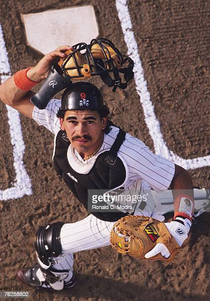 Benito Santiago of the San Diego Padres at spring training in March 1989 in Yuma Arizona