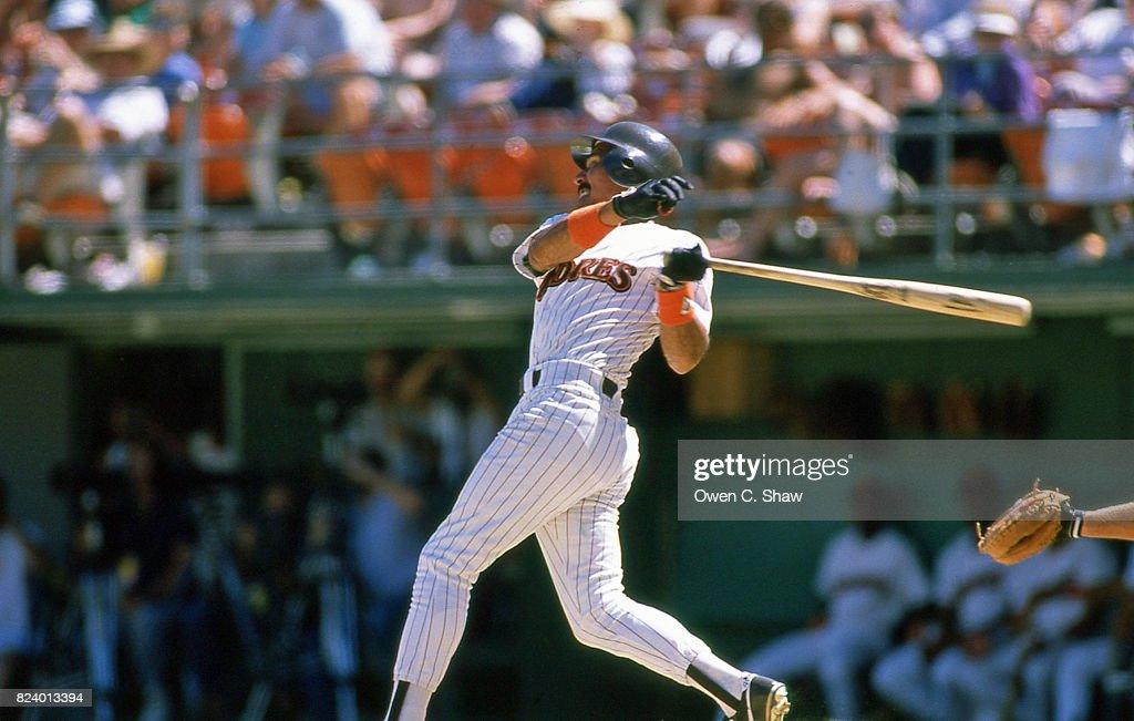 Benito Santiago of the San Diego Padres bats at Jack Murphy Stadium circa 1986 in San Diego, California.