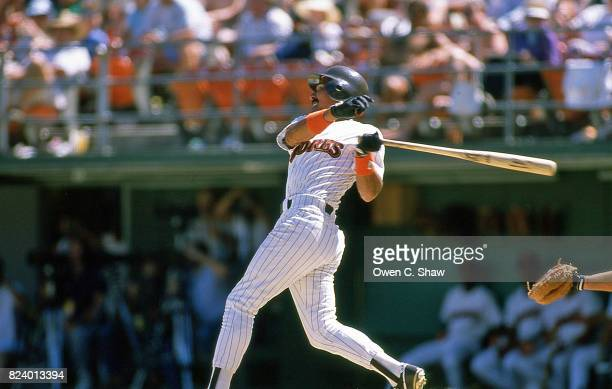 Benito Santiago of the San Diego Padres bats at Jack Murphy Stadium circa 1986 in San Diego California