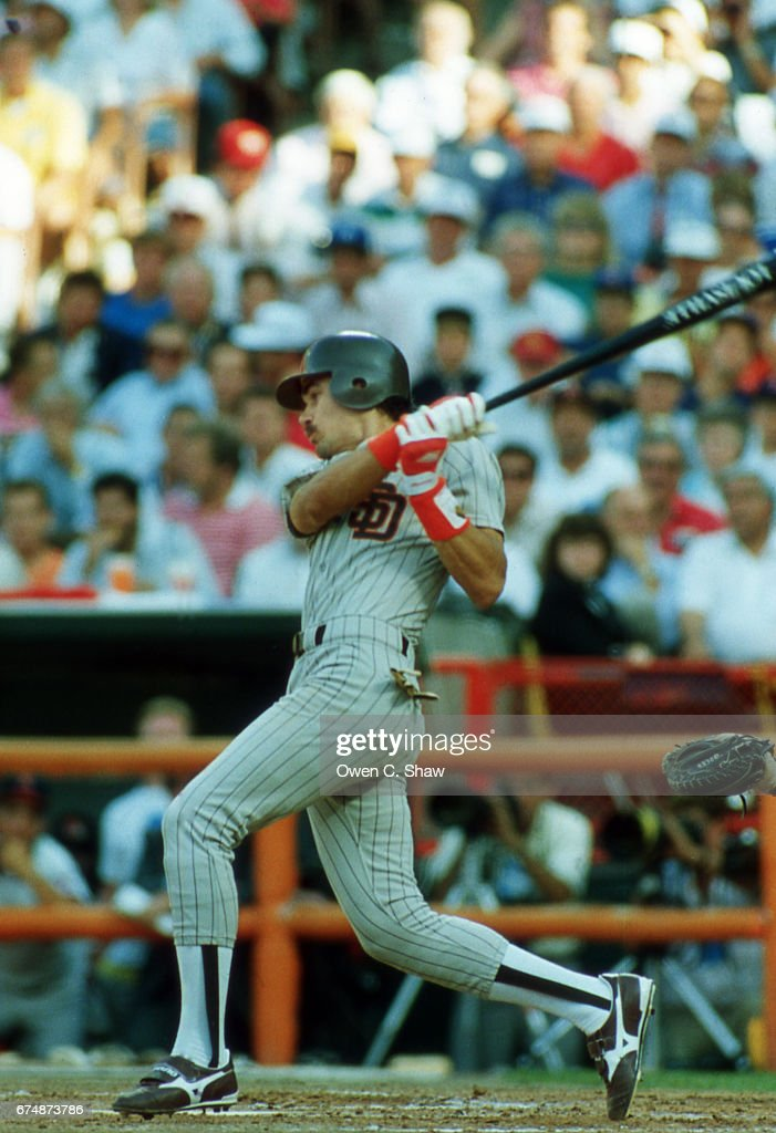 Benito Santiago of the San Diego Padres circa 1989 bats at the 1989 MLB All Star game at the Big A in Anaheim, California.