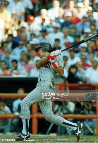 ANAHEIM CA Benito Santiago of the San Diego Padres circa 1989 bats at the 1989 MLB All Star game at the Big A in Anaheim California