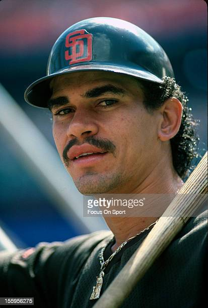 Benito Santiago of the San Diego Padres looks on during batting practice before a Major League Baseball game against the New York Mets circa 1988 at...