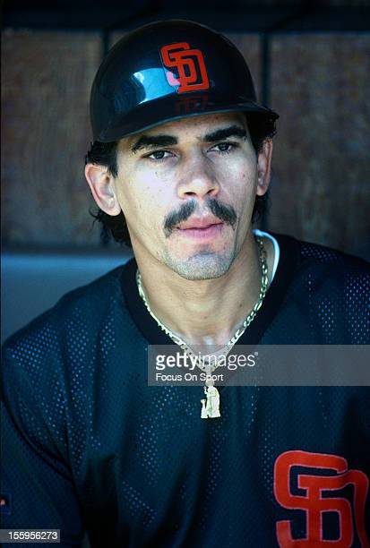 Benito Santiago of the San Diego Padres looks on from the dugout during batting practice before a Major League Baseball game against the New York...