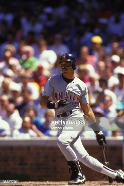 Benito Santiago of the San Diego Padres takes a swing during a baseball game against the Chicago Cubs on June 4 1991 at Wrigley Field in Chicago...