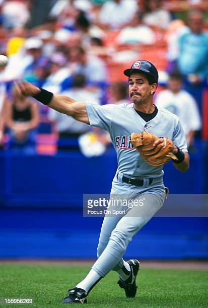 Benito Santiago of the San Diego Padres warms up before a Major League Baseball game against the New York Mets circa 1988 at Shea Stadium in the...