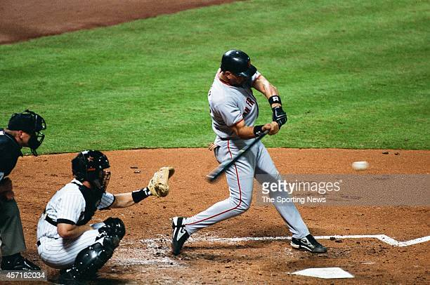 Benito Santiago of the San Francisco Giants bats against the Houston Astros on OCTOBER 3 2001 at Minute Maid Park in Houston Texas