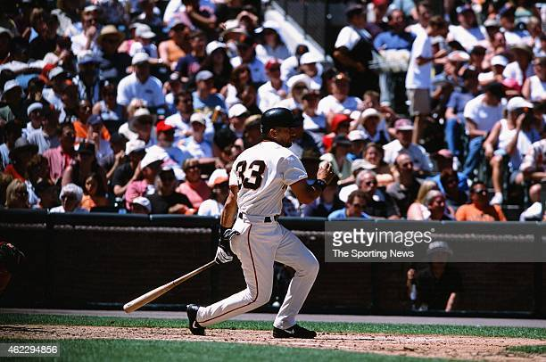 Benito Santiago of the San Francisco Giants bats during a game against the St Louis Cardinals on July 1 2001 in San Francisco California