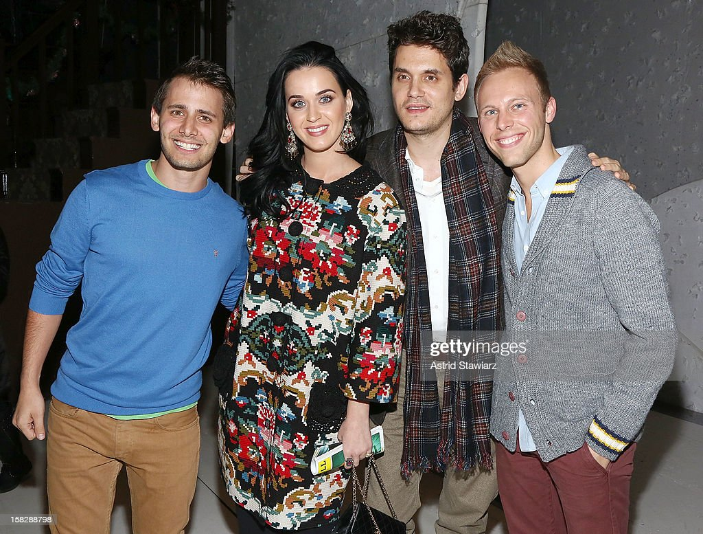 Benj Pasek, <a gi-track='captionPersonalityLinkClicked' href=/galleries/search?phrase=Katy+Perry&family=editorial&specificpeople=599558 ng-click='$event.stopPropagation()'>Katy Perry</a>, <a gi-track='captionPersonalityLinkClicked' href=/galleries/search?phrase=John+Mayer&family=editorial&specificpeople=201930 ng-click='$event.stopPropagation()'>John Mayer</a> and Justin Paul attend 'A Christmas Story, The Musical' Broadway Performance at Lunt-Fontanne Theatre on December 12, 2012 in New York City.