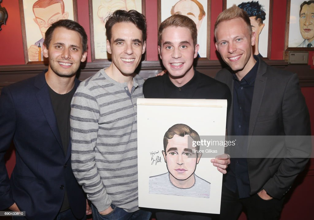 Benj Pasek, Steven Levenson, Ben Platt and Justin Paul pose as Ben Platt gets honored for his performance in his broadway show 'Dear Evan Hansen' wth a caricature on the wall of fame at Sardi's on May 30, 2017 in New York City.