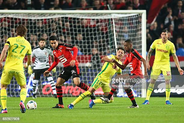Benjamin Andre of Rennes and Amine Harit of Nantes during the French Ligue 1 match between Rennes and Nantes at Stade de la Route de Lorient on...