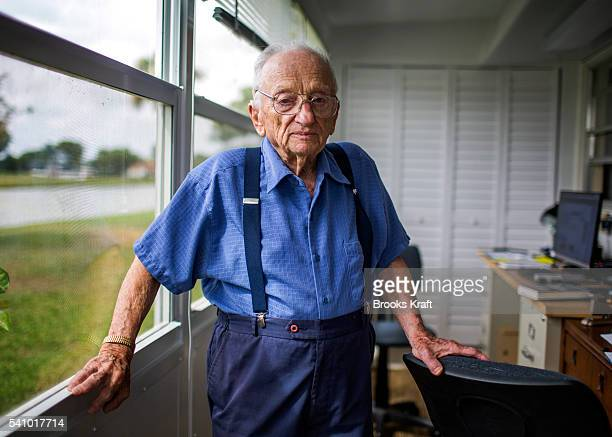 Benjamin B Ferencz former Chief Prosecutor for the United States Army at the Nuremberg Trials for Nazi war crimes after World War II at his home...