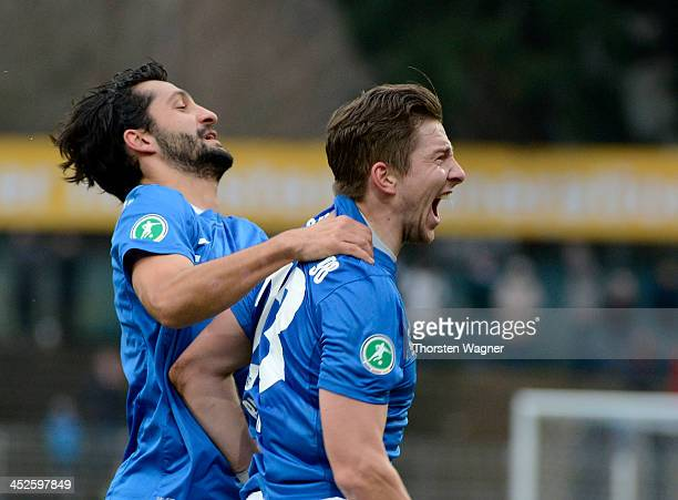 Benjamin Baier of Darmstadt celebrates after scoring his teams second goal during the third league match between SV Darmstadt 98 and SV Wehen...