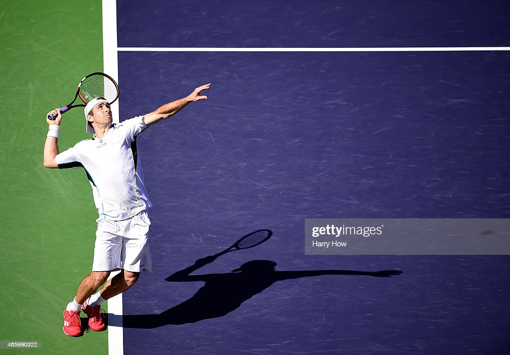 Benjamin Becker of Germany serves in his match against Tim Smyczek during the BNP Parisbas Open at the Indian Wells Tennis Garden on March 11, 2015 in Indian Wells, California.
