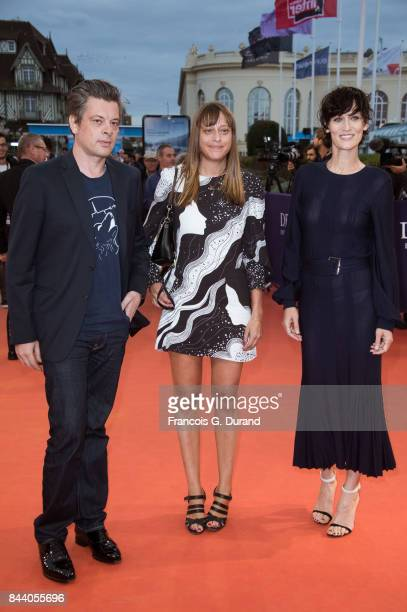 Benjamin Biolay Alice Winocour and Clotilde Hesme arrive at the screening of the movie 'The Zookeepr's Wife' during the 43rd Deauville American Film...