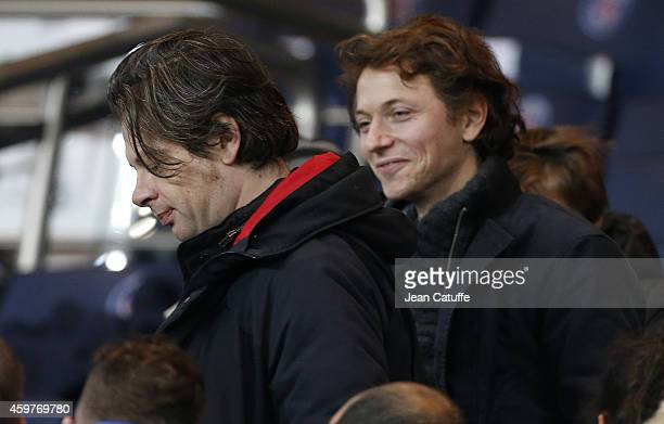 Benjamin Biolay and Raphael Haroche attend the French Ligue 1 match between Paris SaintGermain FC and OGC Nice at Parc des Princes stadium on...