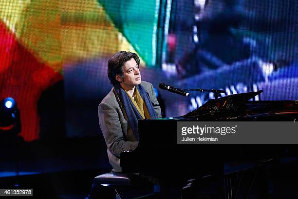 Benjamin Biolay is pictured during rehearsals of 'Tous En Coeur Pour Charlie' at Maison De La radio on January 11 2015 in Paris France