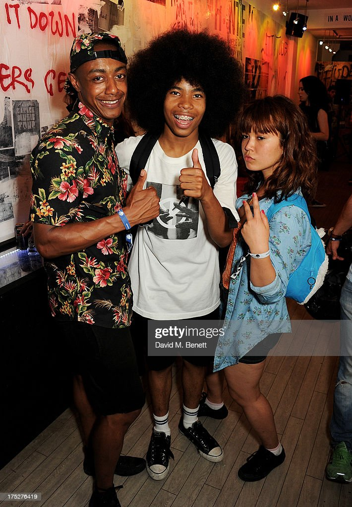 Benjamin Boateng, Anaiah Lei and guest attend Converse At The Circle, celebrating the Chuck Taylor All Star 'Rock Craftsmanship' collection, on August 1, 2013 in London, United Kingdom.