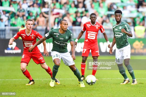 Benjamin BOURIGEAUD of Rennes and Moises Antunes Gabriel Silva of Saint Etienne during the Ligue 1 match between AS Saint Etienne and Stade Rennais...