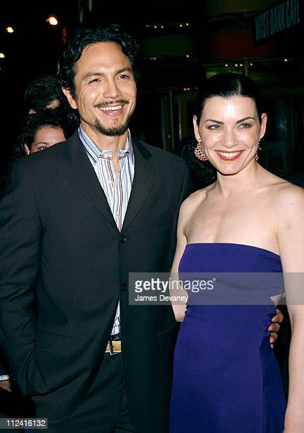 Benjamin Bratt and Julianna Margulies during 'Intrigue with Faye' Opening Night After Party at West Bank Cafe in New York City New York United States