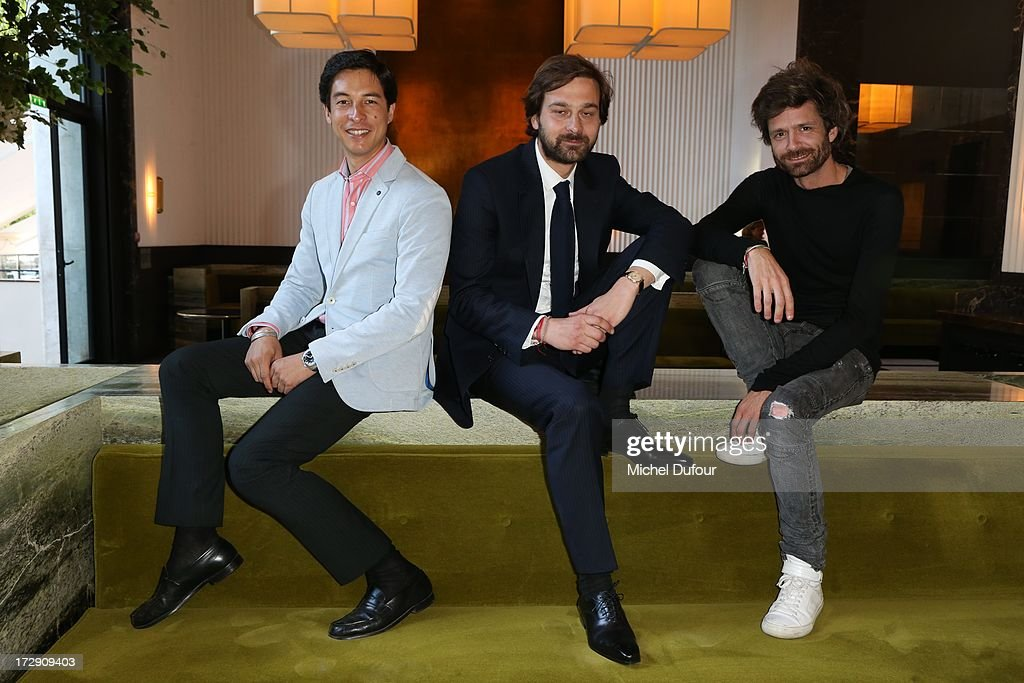 Benjamin Cassan, Laurent De Gourcuff and Joseph Dirand attend the Chambre Syndicale de la Haute Couture cocktail party at Palais De Tokyo on July 4, 2013 in Paris, France.