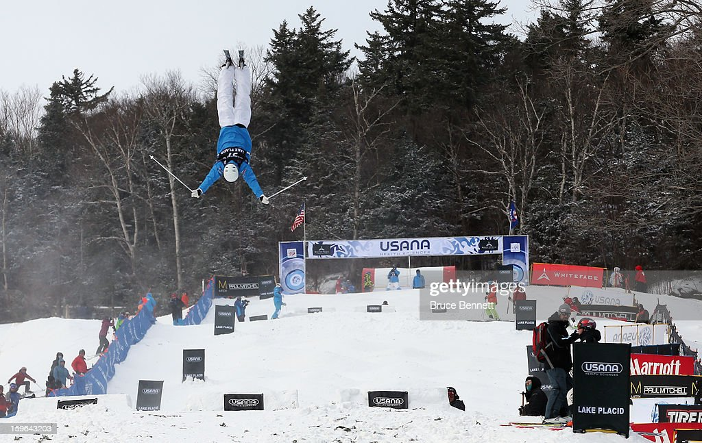 Benjamin Cavet of France competes in the USANA Freestyle World Cup Moguls competition at Whiteface Mountain on January 17, 2013 in Lake Placid, New York.
