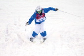 Benjamin Cavet of France practices ahead of the Men's Moguls Qualification on day three of the Sochi 2014 Winter Olympics at Rosa Khutor Extreme Park...