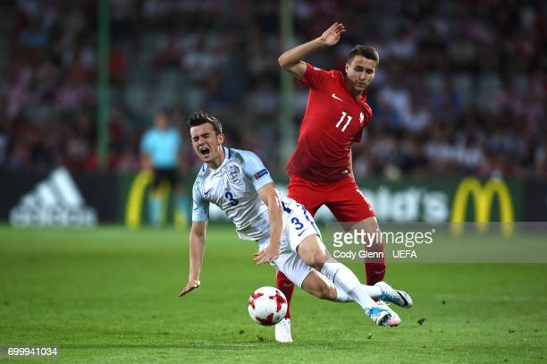 Benjamin Chilwell of Engalnd and Przemyslaw Frankowski of Poland during their UEFA European Under21 Championship 2017 match between England and...