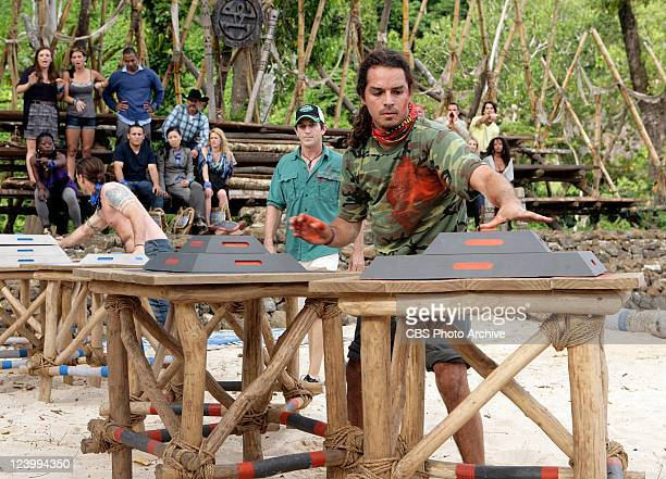 Benjamin 'Coach' Wade Ozzy Lusth and Jeff Probst during the reward Challenge 'Thrilloilogy' during the series premier of SURVIVOR SOUTH PACIFIC...