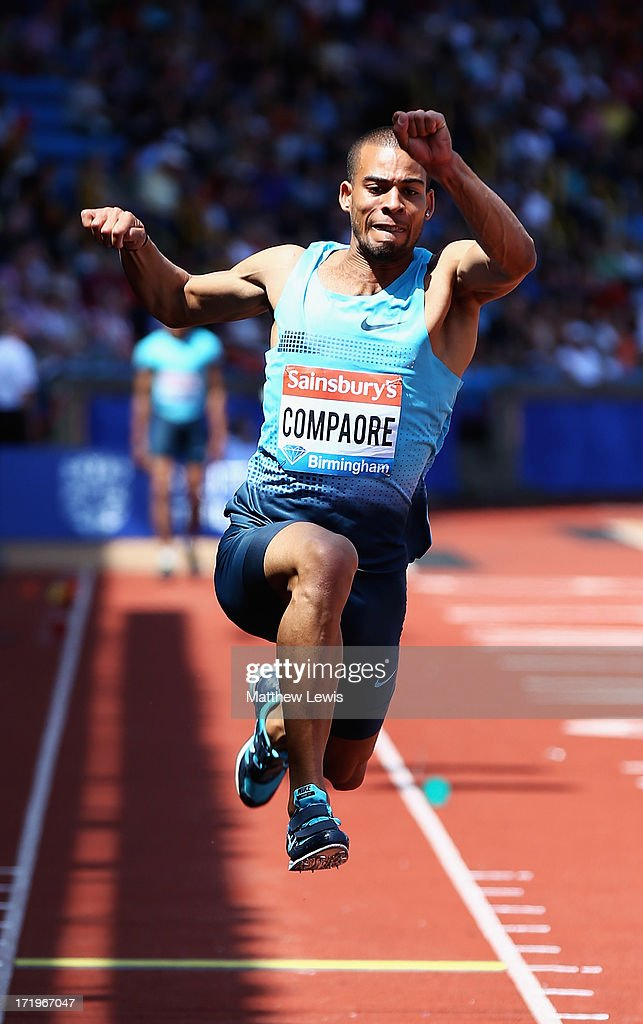 Benjamin Compaore of France in action during the Mens Triple Jump during the Sainsbury's Grand Prix Birmingham IAAF Diamond League at Alexander Stadium on June 30, 2013 in Birmingham, England.