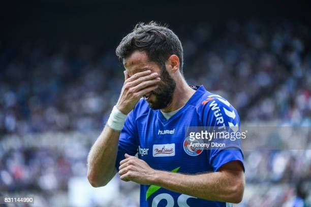 Benjamin Corgnet of Strasbourg looks dejected during the Ligue 1 match between Racing Club Strasbourg and Lille OSC at Stade de la Meinau on August...