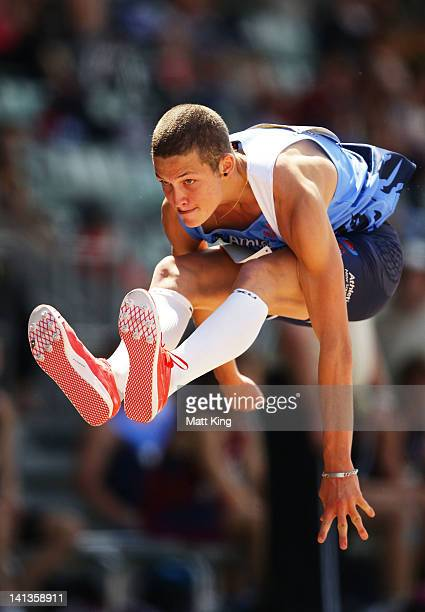 Benjamin Cox of NSW competes in the Mens U20 Triple Jump during day two of the Australian Junior Athletics Championships at Sydney Olympic Park...