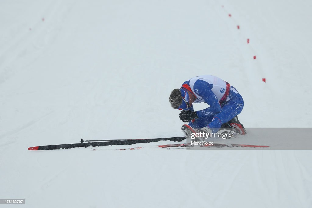 Benjamin Daviet of France looks dejected after not placing in the semi final of the men's 1km sprint, standing cross-country during day five of Sochi 2014 Paralympic Winter Games at Laura Cross-country Ski & Biathlon Center on March 12, 2014 in Sochi, Russia.