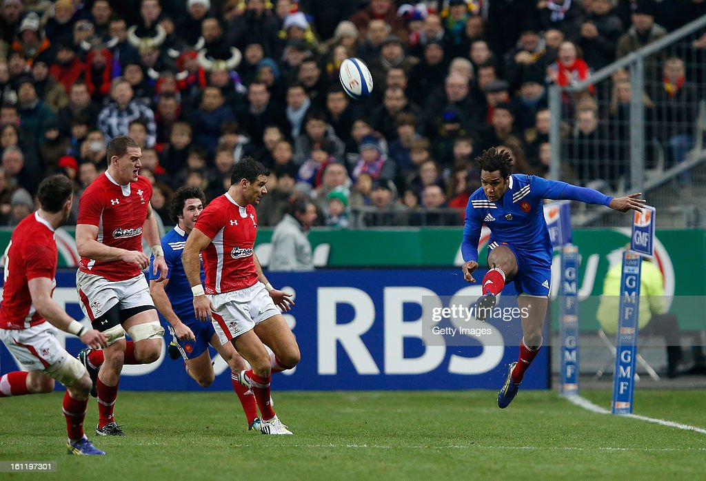 Benjamin Fall of France kicks downfield during the RBS Six Nations match between France and Wales at Stade de France on February 9, 2013 in Paris, France.