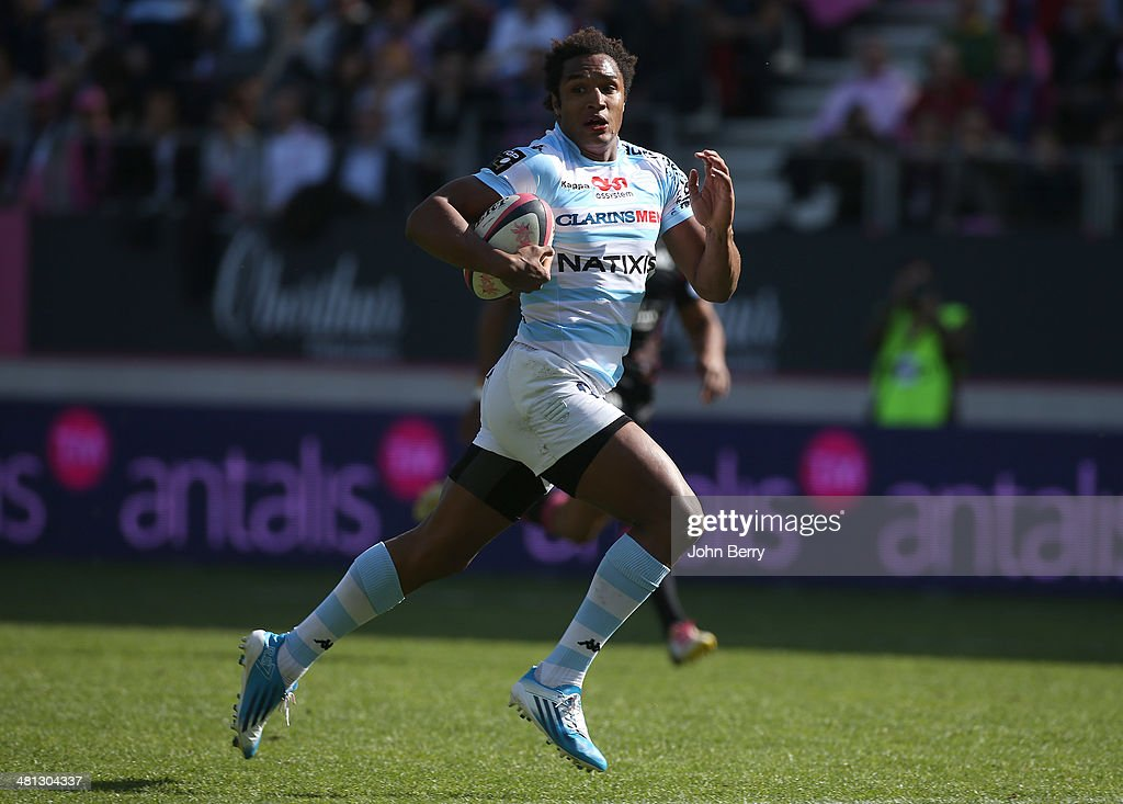 <a gi-track='captionPersonalityLinkClicked' href=/galleries/search?phrase=Benjamin+Fall&family=editorial&specificpeople=5405287 ng-click='$event.stopPropagation()'>Benjamin Fall</a> of Racing Metro scores a try during the Top 14 rugby match between Stade Francais Paris and Racing Metro 92 at Stade Jean Bouin on March 29, 2014 in Paris, France.